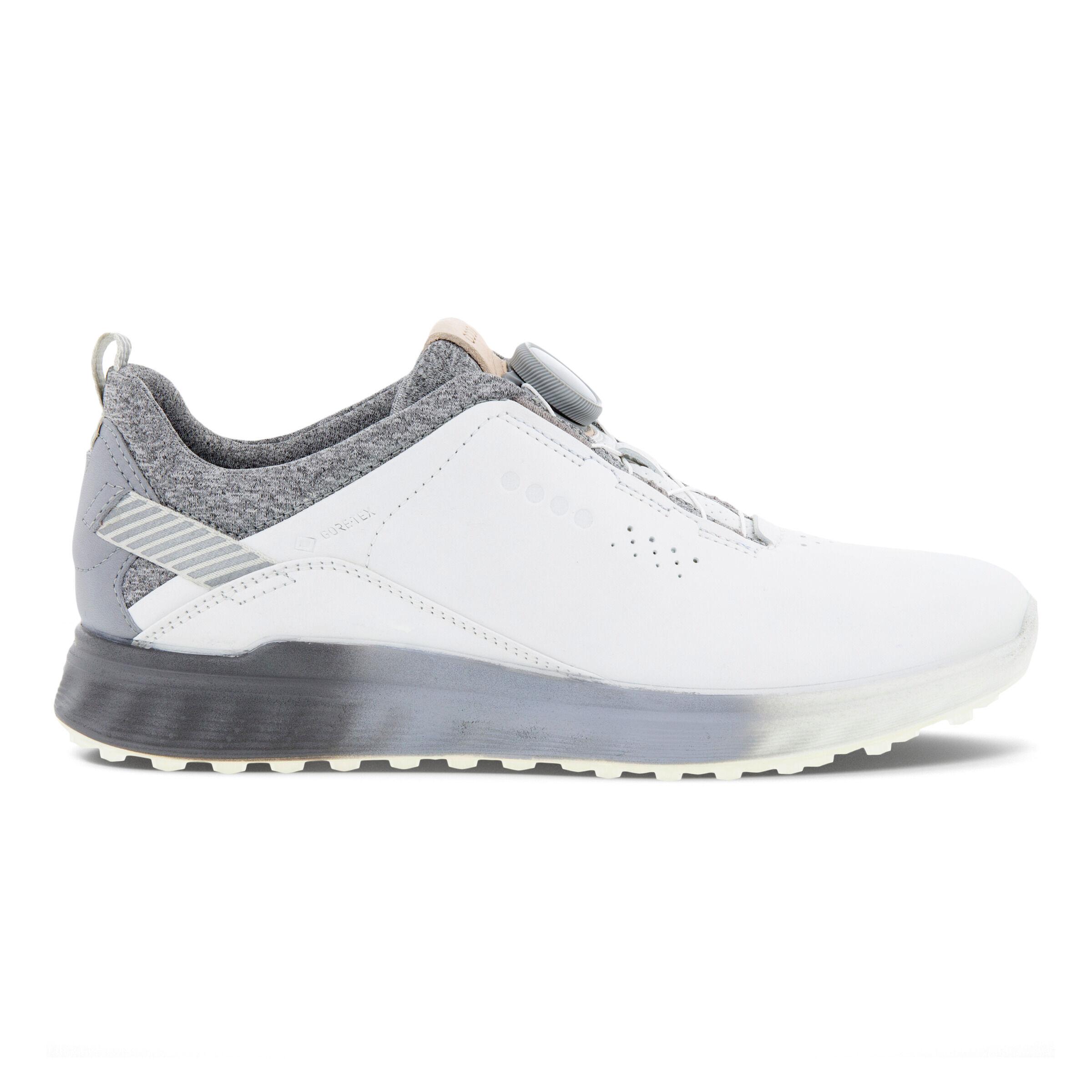 에코 S3 보아 여성 골프화 ECCO Womens S-Three Boa Golf Shoes,WHITE/SILVER GREY