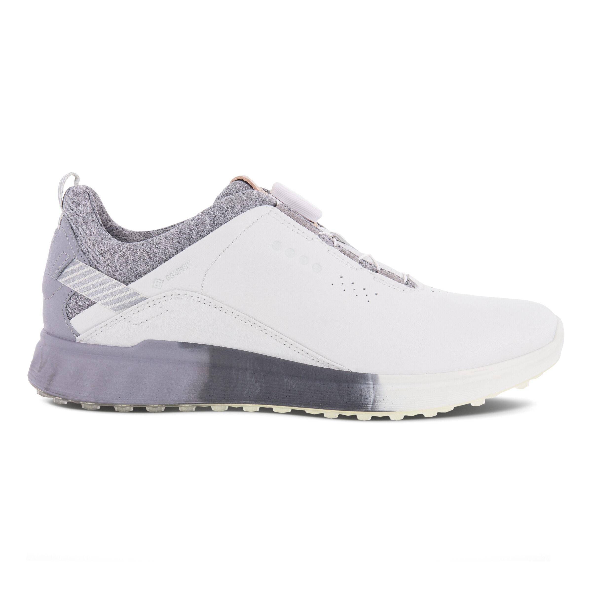 에코 우먼 골프화 ECCO Womens S-Three Boa Golf Shoes,WHITE/SILVER GREY