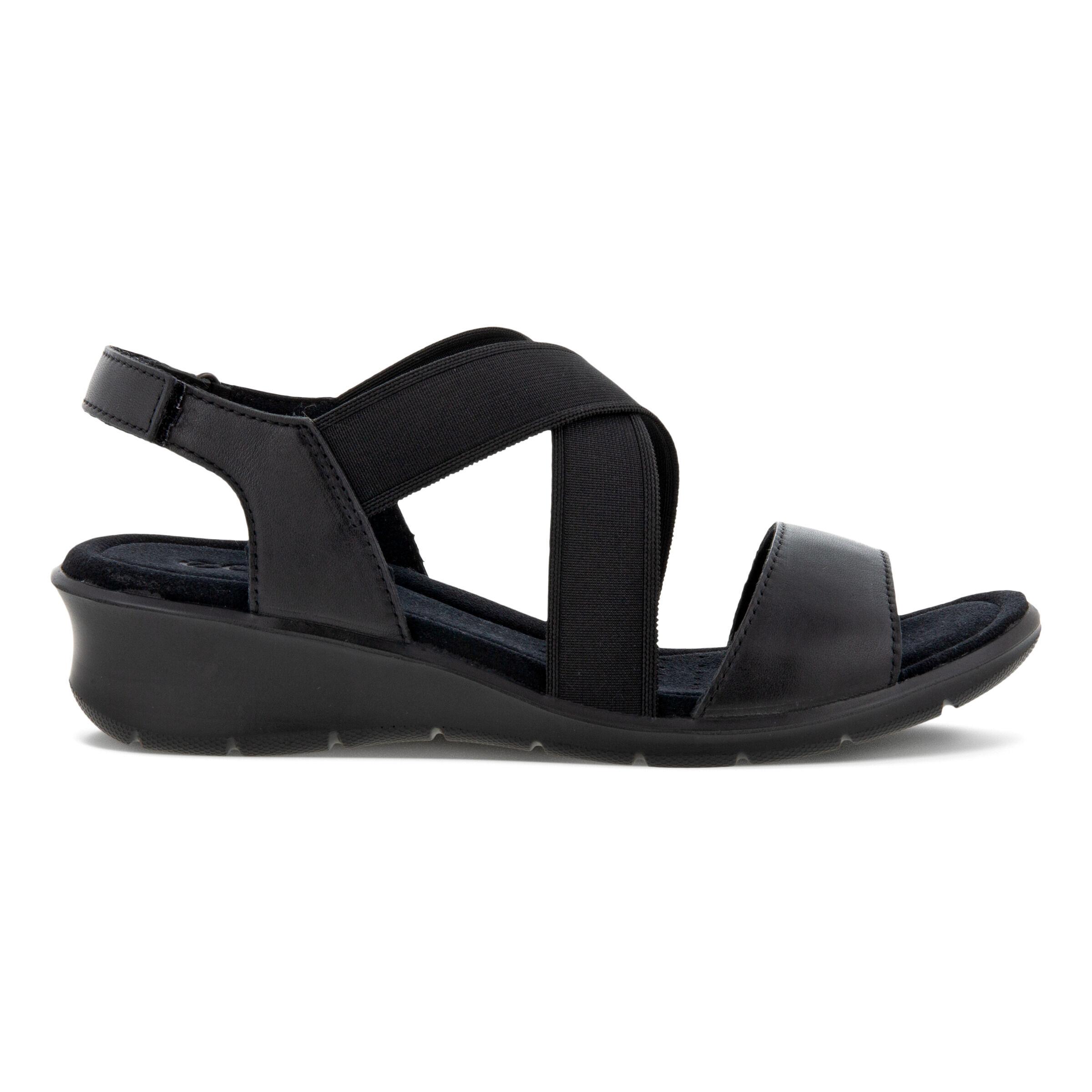 에코 샌들 ECCO FINOLA Womens Wedge Sandals,BLACK