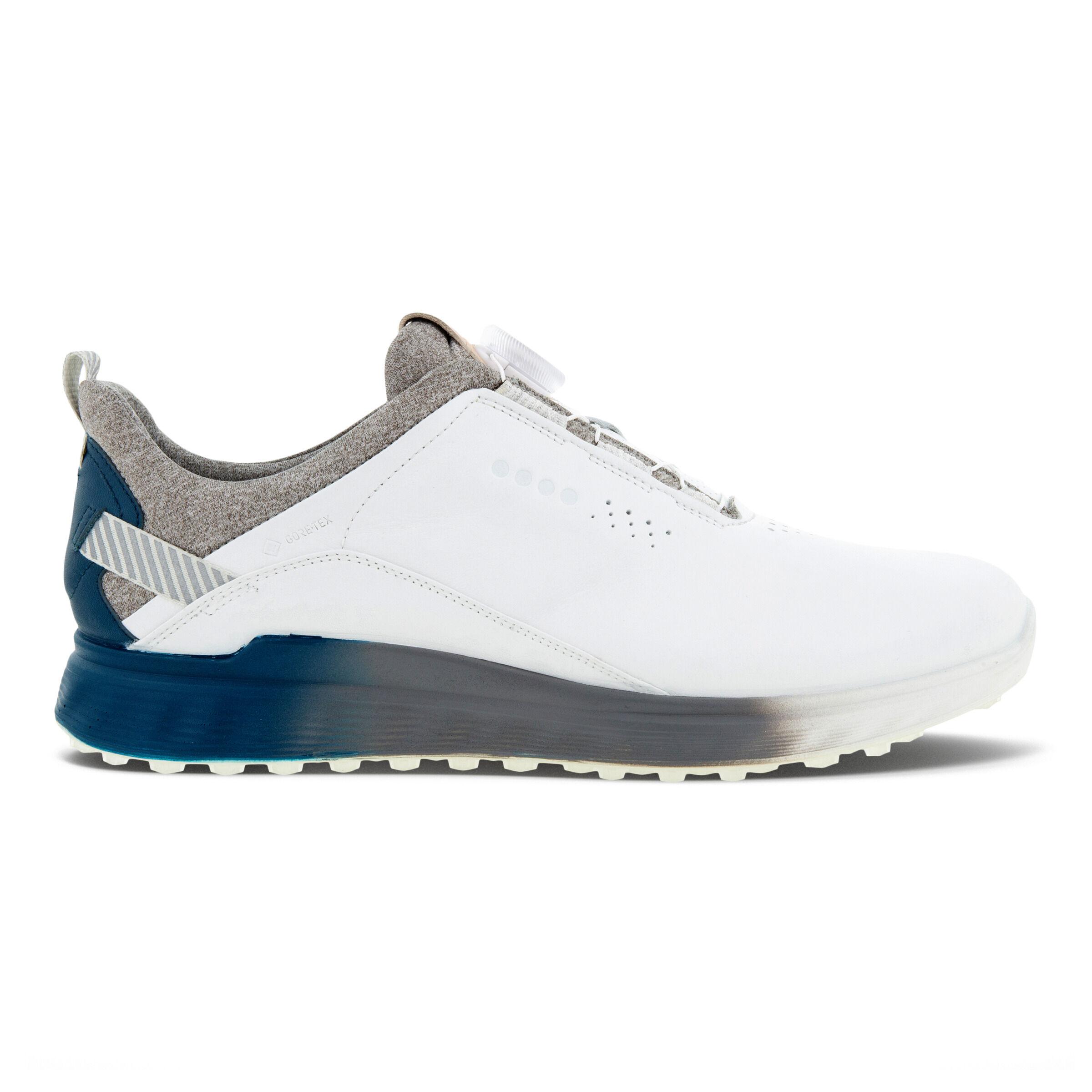 에코 맨 골프화 ECCO Mens Golf S-Three Golf Shoe,WHITE/SEAPORT