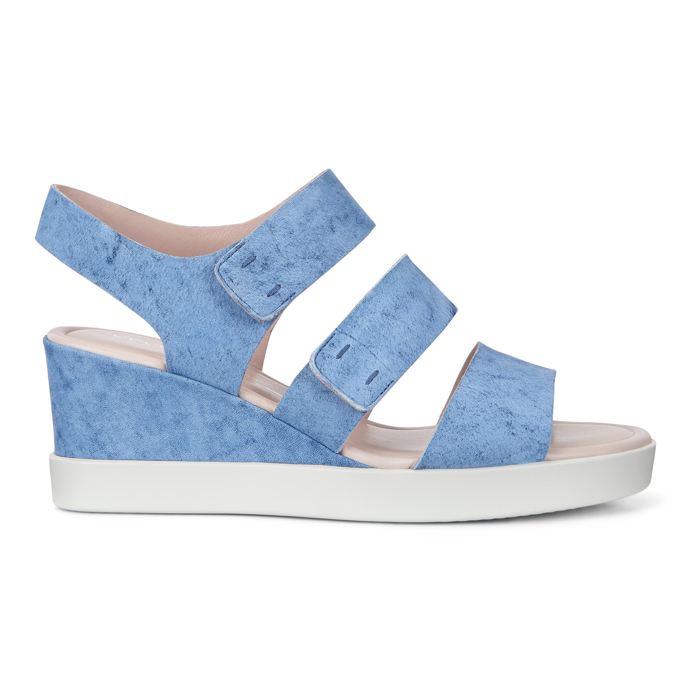 ECCO Shape Wedge Plateau Sandals Size 8-8.5 Indigo