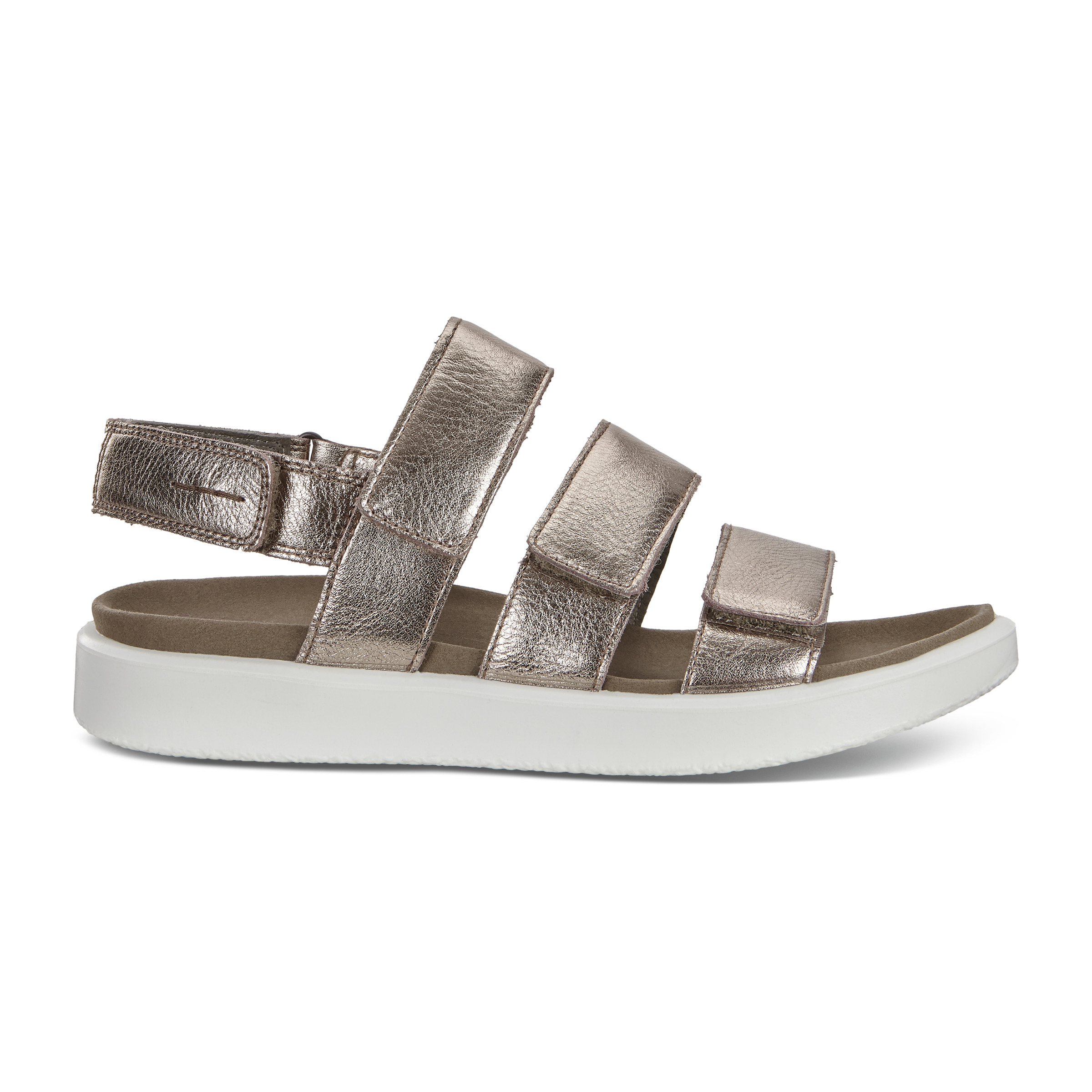UPC 809704940717 product image for ECCO Flowt W Flat Sandal Size 4-4.5 Warm Grey Metallic | upcitemdb.com