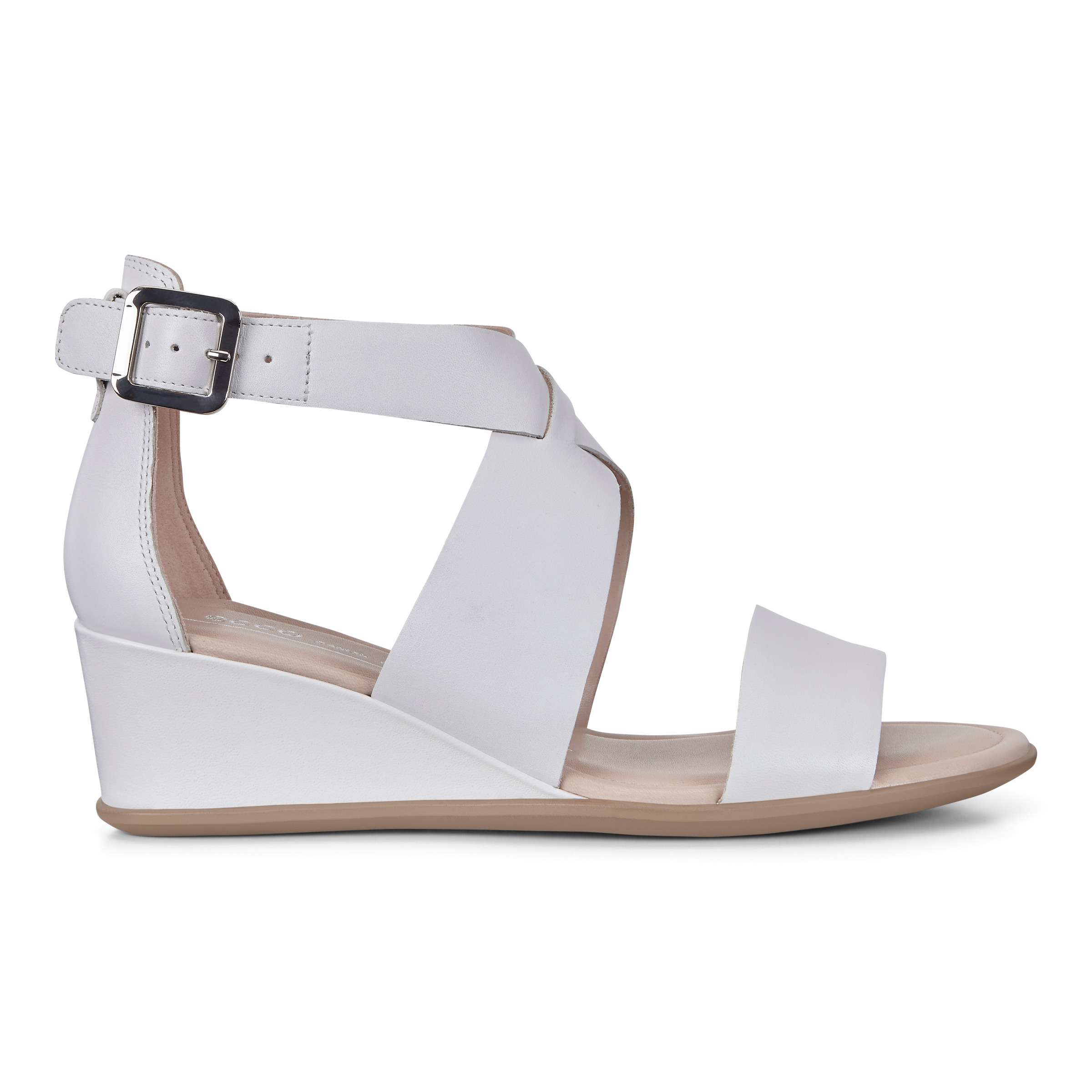 ECCO Shape 35 Wedge Ankle Sandals Size 8-8.5 Bright White