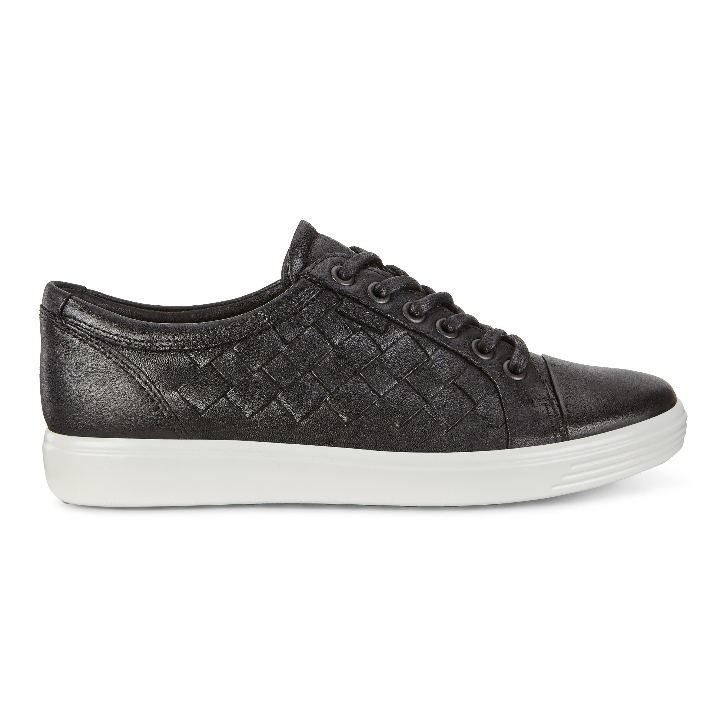 ECCO Womens Soft 7 Woven Tie Sneakers Size 12-12.5 Black