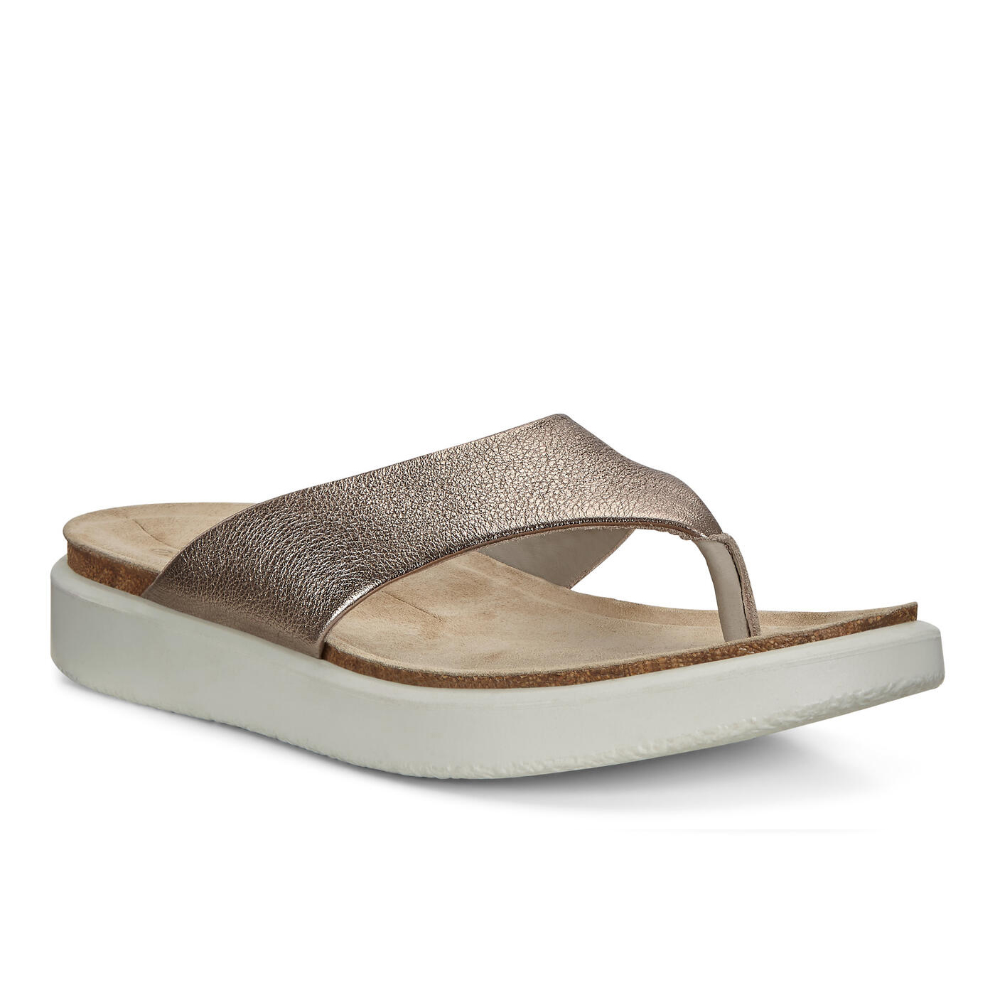 UPC 825840029949 product image for ECCO Corksphere Sandal W Thong Size 10-10.5 Warm Grey Metallic | upcitemdb.com