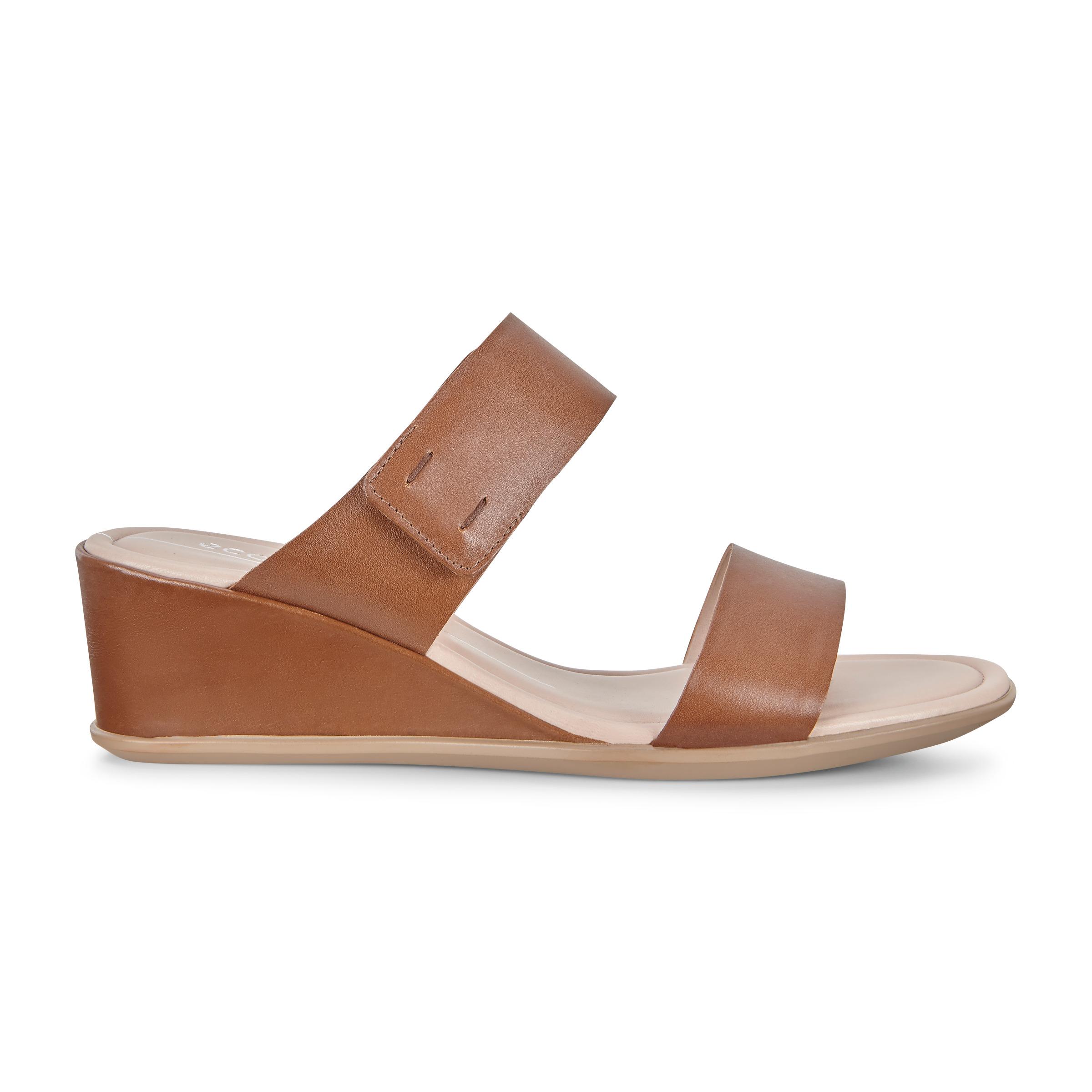 ECCO Shape 35 Wedge 2-strap Sandals Size 7-7.5 Camel